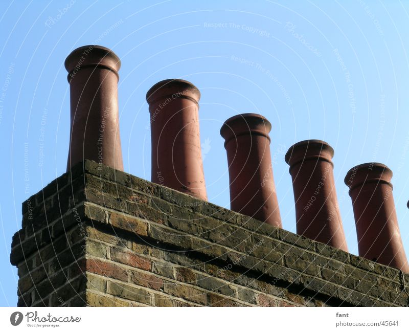 chimneys England London Chimney House (Residential Structure) Pottery Brick Wall (barrier) Roof Tradition 5 Architecture Smoke Blue Deserted Round Side by side