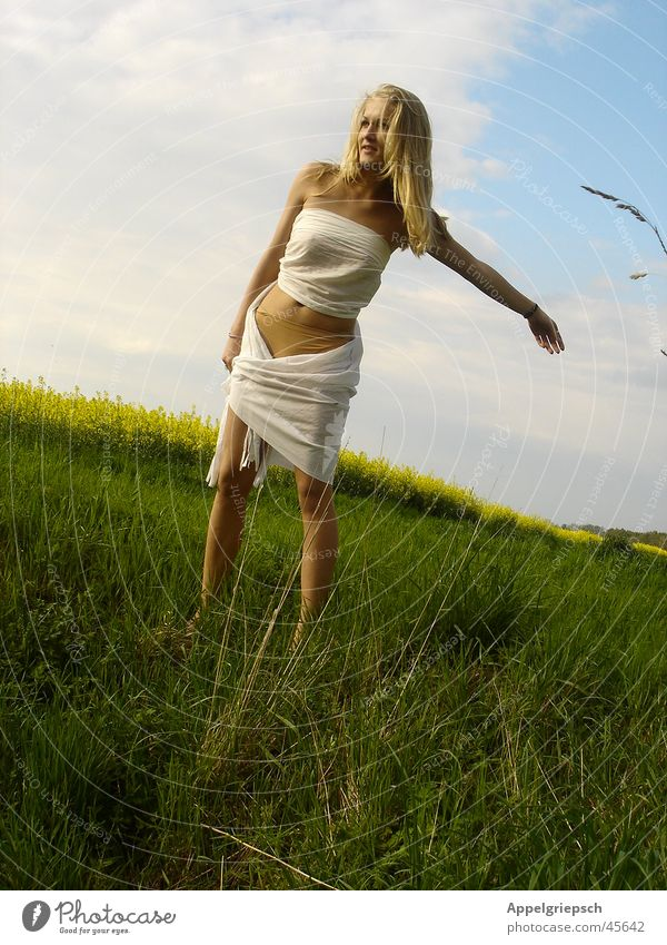 Woman Nature Sky Freedom Air Field Serene
