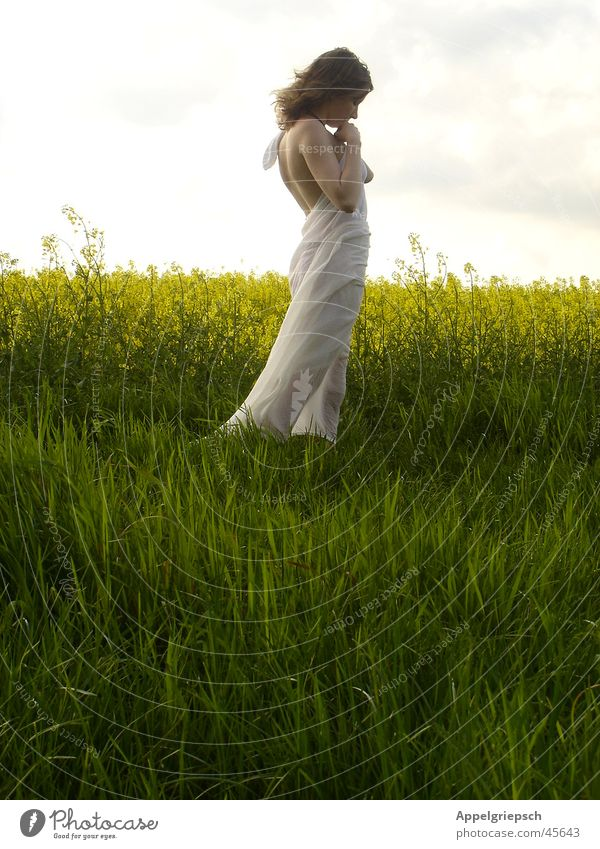 Woman Nature Calm Field Hope Longing Peace Individual Prayer Young woman Canola Caresses Margin of a field Bright background