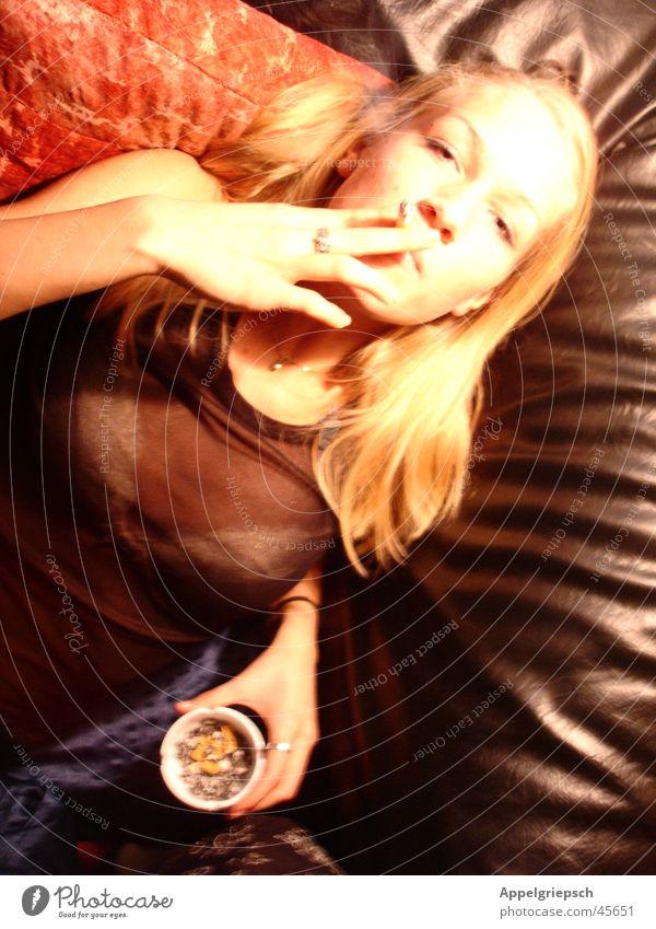 Woman Red Black Blonde Smoking Smoke Ashtray