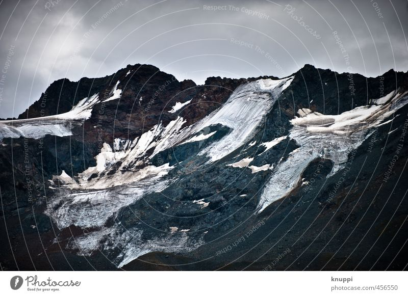 glaciers Environment Nature Landscape Elements Water Sky Clouds Sunlight Summer Autumn Climate change Bad weather Snow Rock Alps Mountain Peak Snowcapped peak