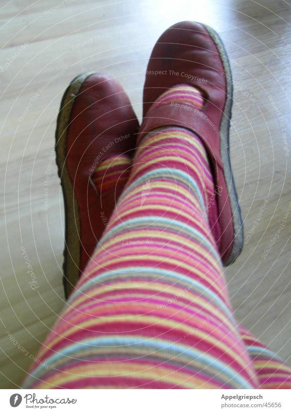 waiting, waiting, waiting, .... Striped pantyhose Footwear Red Laminate Woman Legs Feet