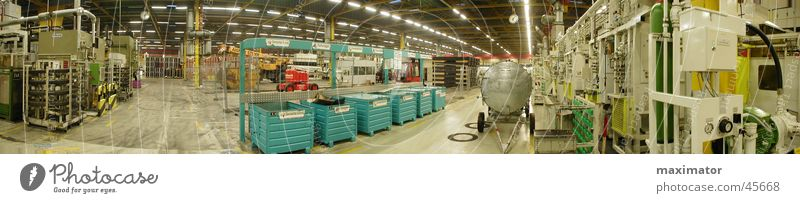 Panorama production hall Assembly shop Production Processing plant Machinery Panorama (View) Industry Warehouse Work of art factory hall transfer lines Large