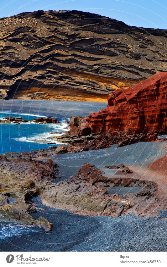 o lanzarote spain musk pond rock stone sky Sky Nature Vacation & Travel Blue Green Summer Ocean Landscape Clouds Beach Yellow Coast Stone Brown Sand Rock