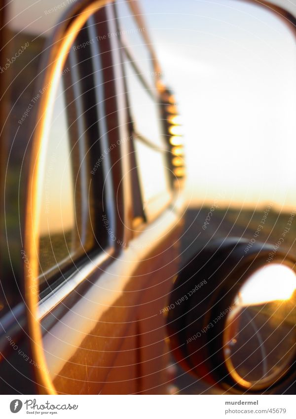 side mirror Mirror Evening sun Country road Driving Transport Bus Orange Sky