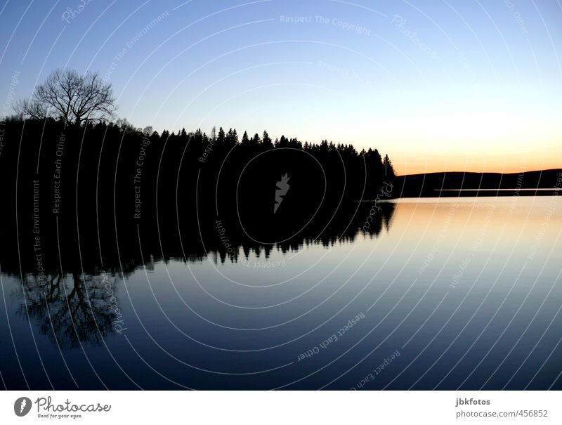 reflection Vacation & Travel Adventure Environment Landscape Elements Water Cloudless sky Sunrise Sunset Autumn Beautiful weather Tree Forest Hill Lake Cold