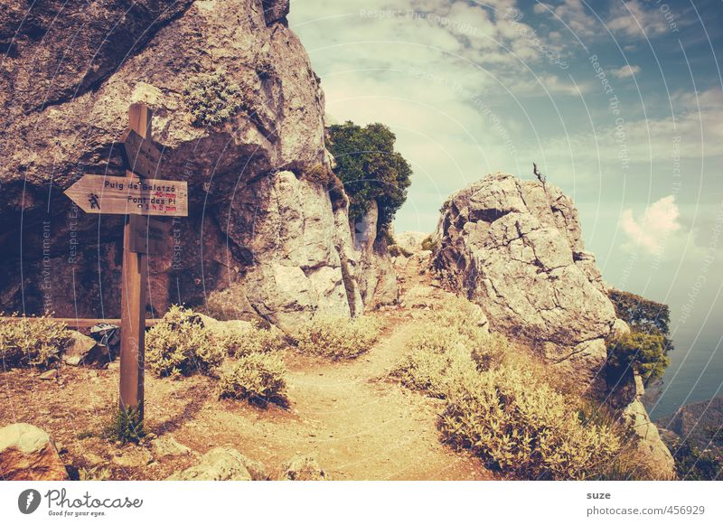 To the Puig de Galatzó ... Vacation & Travel Tourism Mountain Hiking Nature Landscape Rock Coast Lanes & trails Signs and labeling Signage Warning sign Arrow