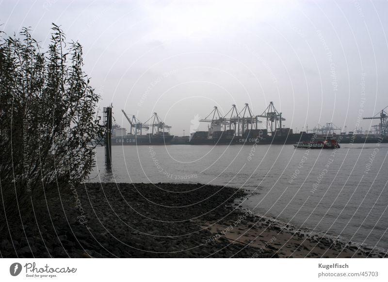 Autumn Gray Watercraft Coast Hamburg Industry Gloomy River Harbour Crane Elbe Bad weather