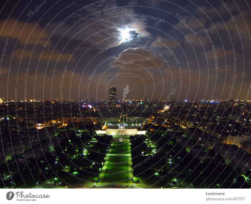 Ecole Militaire France Paris Town Eiffel Tower Champs de Mars Night Full  moon Clouds Long exposure Vantage point Vacation & Travel Europe big city
