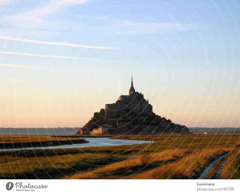 Mont Saint Michel Hill Ocean Coast Moody Vacation & Travel France Europe Monastery Medieval times Evening River Far-off places Historic Historic Buildings