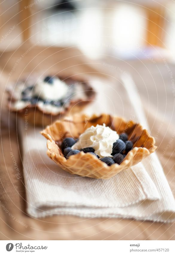 blueberry Fruit Dessert Candy Cream Blueberry Nutrition Delicious Sweet Waffle Colour photo Interior shot Deserted Day Shallow depth of field