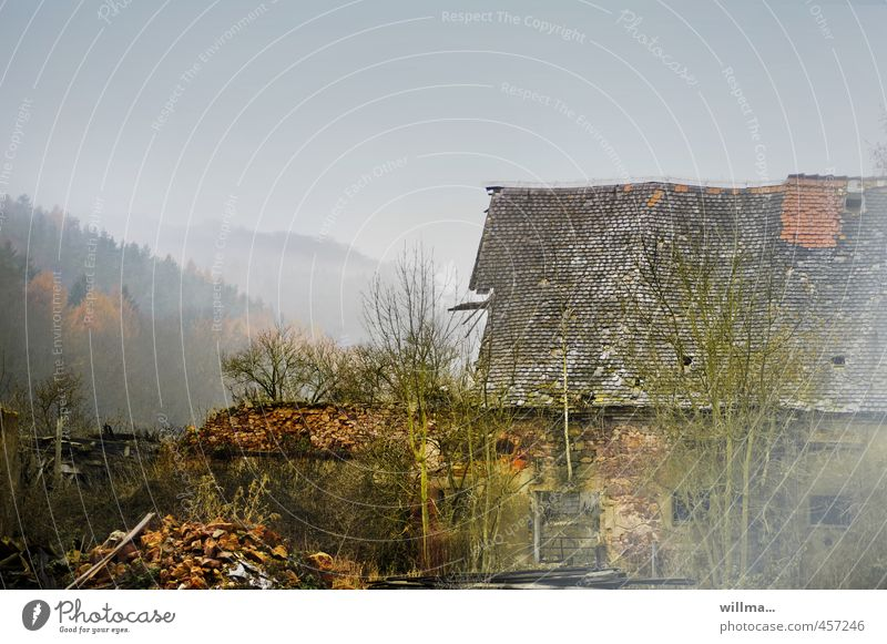 Old Landscape House (Residential Structure) Forest Mountain Wall (building) Autumn Wall (barrier) Building Fog Broken Transience Hill Derelict Village Shabby