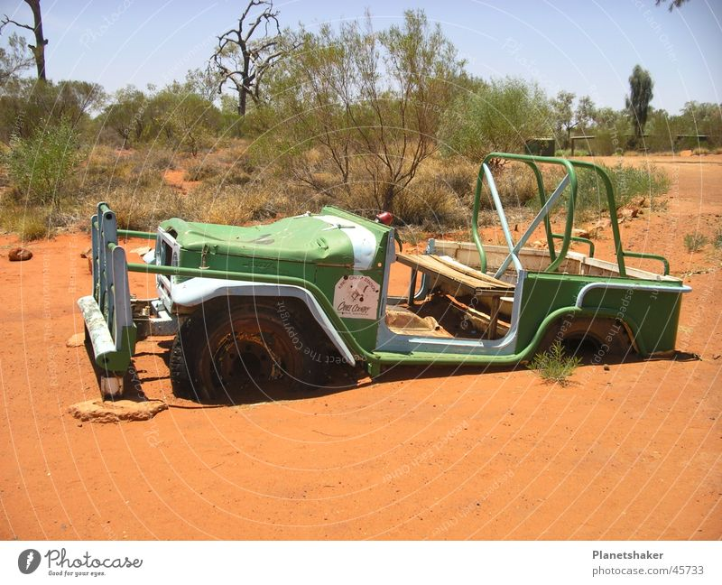 Green Red Car Sand Funny Transport Bushes Australia Go under Outback