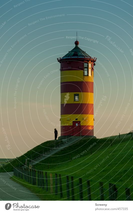 There you look... Lighthouse Building Tourist Attraction Navigation Safety Tourism Colour photo Exterior shot Evening Twilight Contrast Silhouette Sunrise