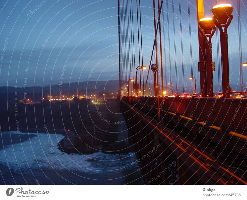 Golden Gate Golden Gate Bridge Night Long exposure San Francisco California Light Water Evening