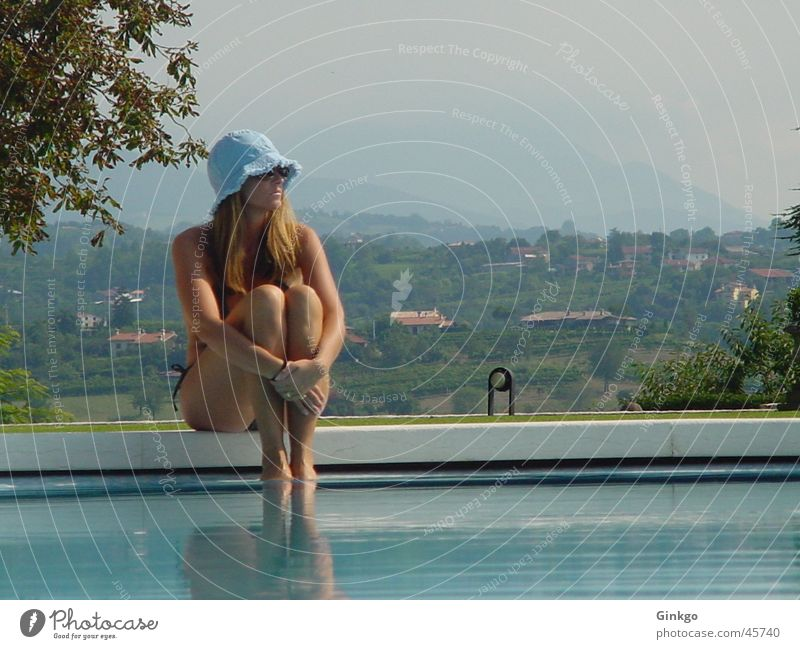 Girl at the pool Swimming pool Woman Italy Summer Relaxation Vacation & Travel Hat Water