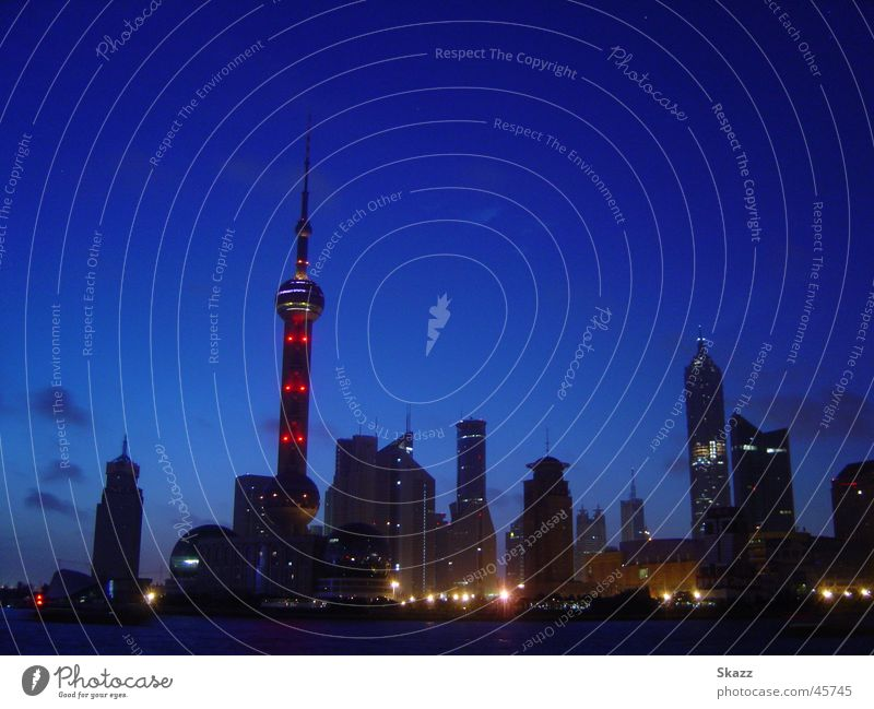 Dawn of Shanhai-Pudong Twilight Cold High-rise Wake up Success Skyline Technology