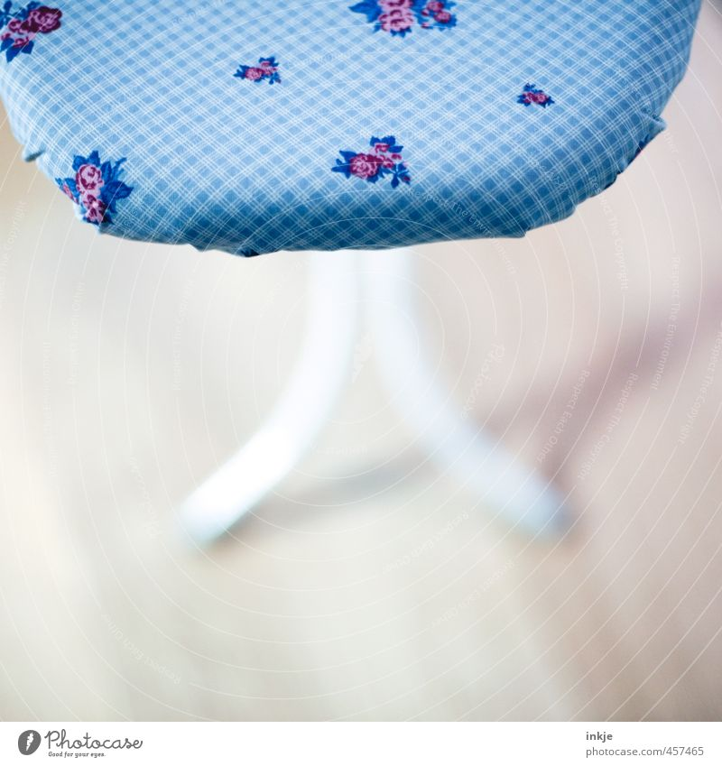 Flowers for the housewife Lifestyle Living or residing Ironing board Flowery pattern Checkered Beautiful Blue Photos of everyday life Cloth pattern Meticulous