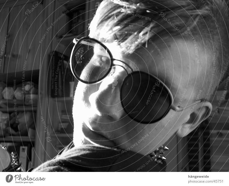 Punk with glasses Sunglasses Gray scale value Man Black & white photo spiked collar blinded Looking Cool (slang)