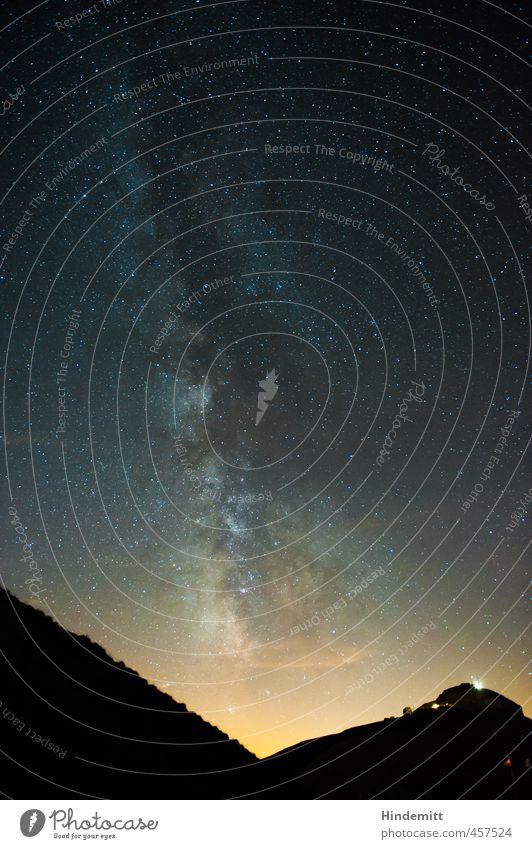 Galactic Center II Vacation & Travel Environment Landscape Sky Cloudless sky Night sky Stars Summer Beautiful weather Alps Mountain Peak Glittering Illuminate