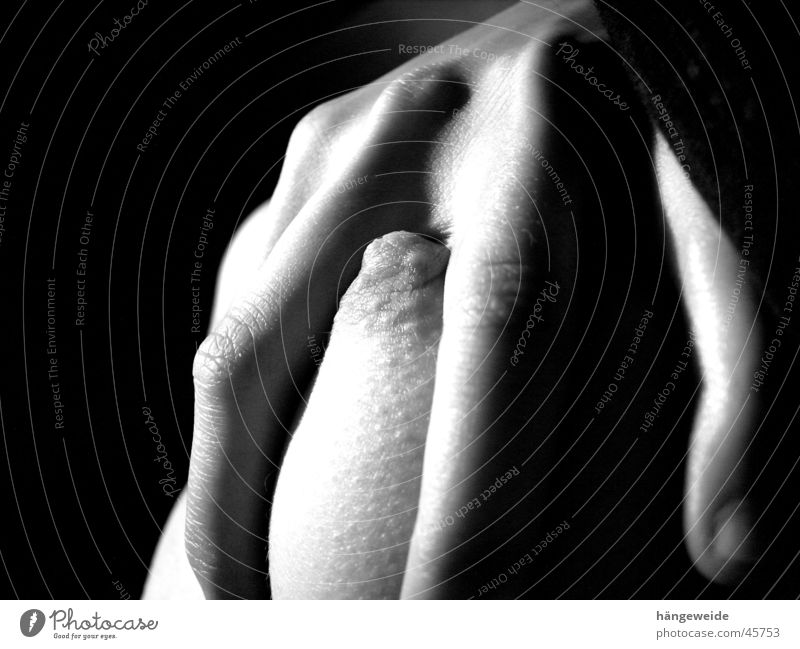 clasped Hand Nipple Gray scale value Captured Woman Chest Black & white photo Grasp