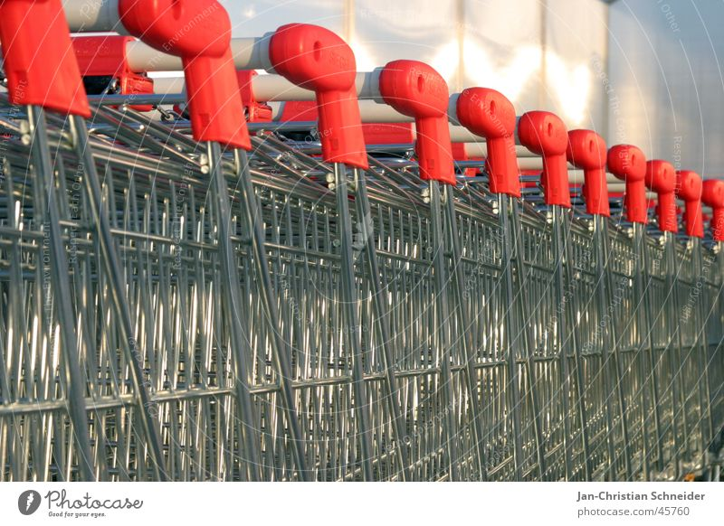 shopping cart queue Iron Red Obscure shopping trolleys Metal Silver