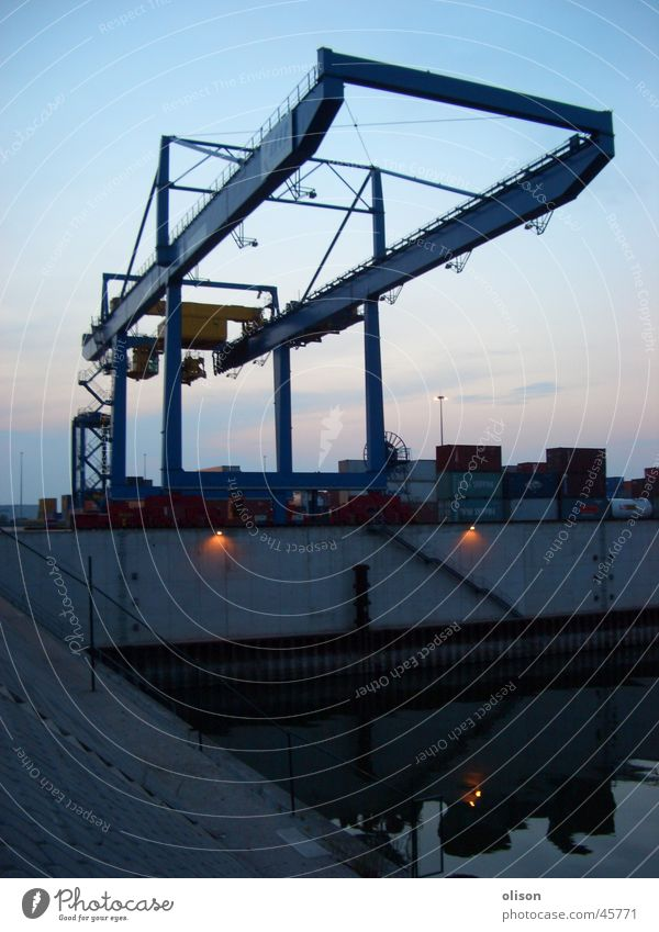 Industry Logistics Harbour Crane Dusk Container Shipping Cargo Control desk