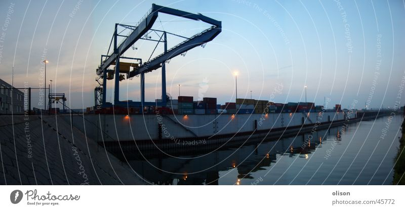 propagandized Crane Shipping Cargo Evening Panorama (View) Industry Container Control desk Harbour Logistics Dusk Large