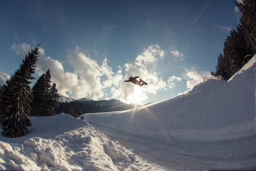 Sky Nature Blue Sun Clouds Winter Mountain Environment Street Sports Flying Jump Action Tall Fantastic Alps