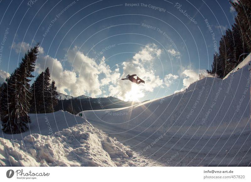 superm Sports Winter sports Sportsperson Snowboard Environment Nature Sky Clouds Sun Sunlight Alps Mountain Blue Action Superman Jump Snowboarder Ski jump