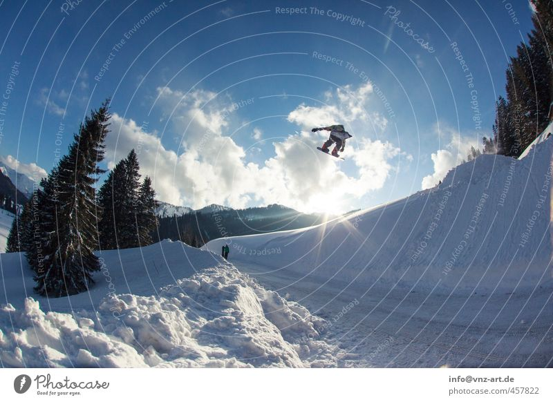 Human being Sky Blue Clouds Winter Mountain Environment Street Snow Style Sports Flying Jump Crazy Speed Tall
