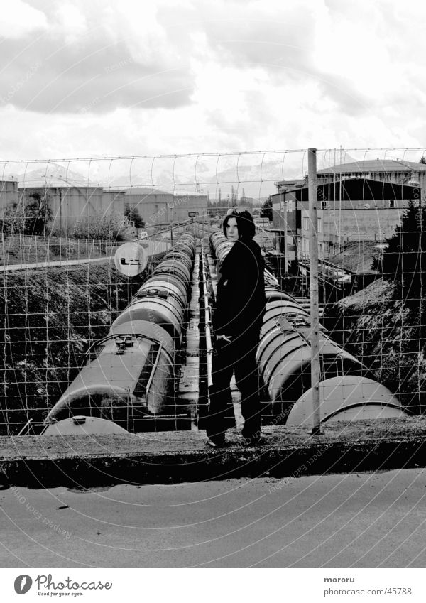 Human vs. Industry Dark Woman Black & white photo Black Gold bad mood evil eye Industrial Photography