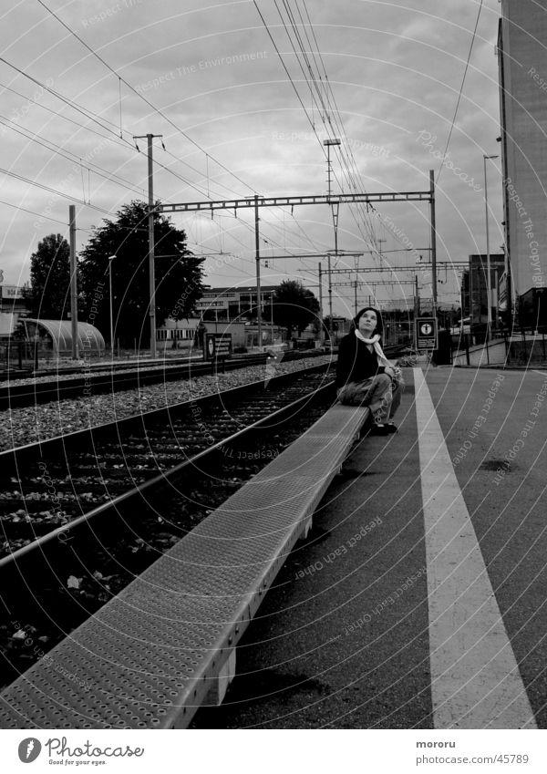 ghost station Think Sombre mood Woman Black & white photo Train station ponder menacingly tracks