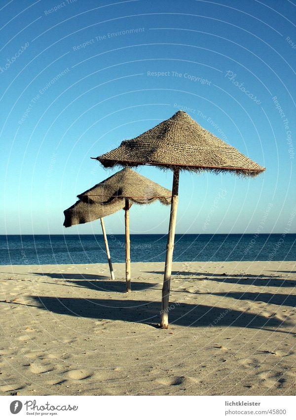 Ocean Beach Loneliness Sand Umbrella Tunisia