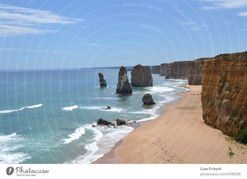twelve apostles Leisure and hobbies Summer Summer vacation Nature Water Sky Waves Coast Beach Island Australia Great Ocean Road Vacation & Travel Esthetic
