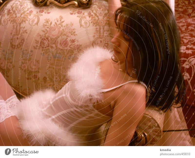 plushy White Underwear Dark-haired Upper body Plush Woman Baroque