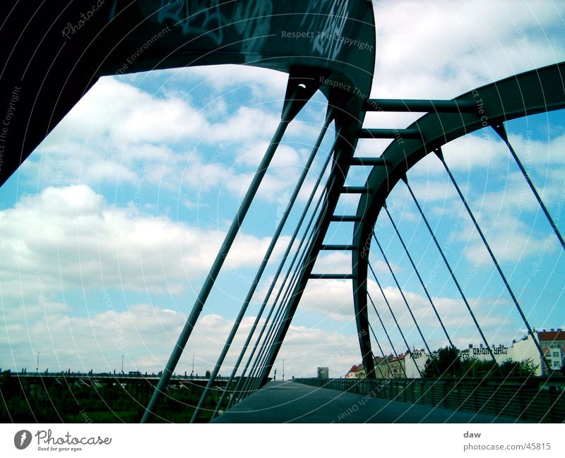 Berlin_bridge Construction Clouds Prenzlauer Berg Bridge Perspective Wedding old wall strip