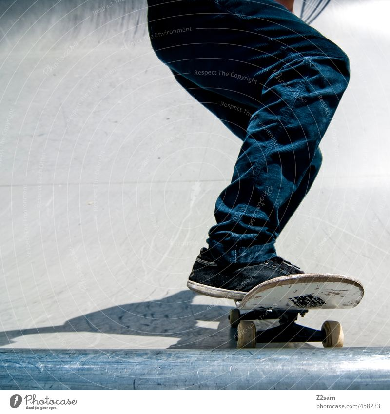 Drop in! Lifestyle Style Athletic Skateboarding Legs 1 Human being Halfpipe Sports ground Pants Sneakers Driving Cool (slang) Trashy Town Blue Brave Resolve