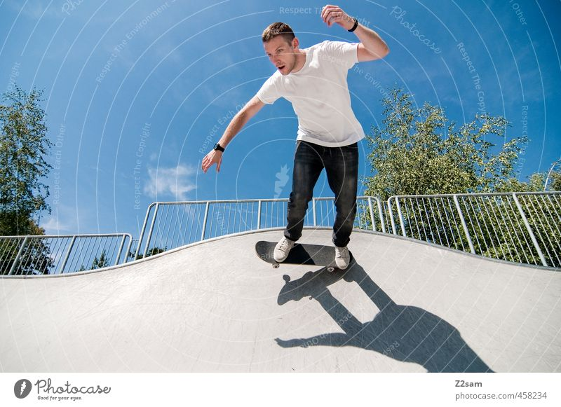 To the old days! Lifestyle Style Athletic Sports Skateboarding Funsport Young man Youth (Young adults) 18 - 30 years Adults Sky Summer Beautiful weather