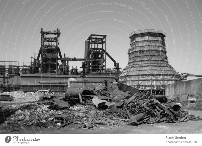 lunar landscape Black White Building rubble Industry Factory Steel factory by day