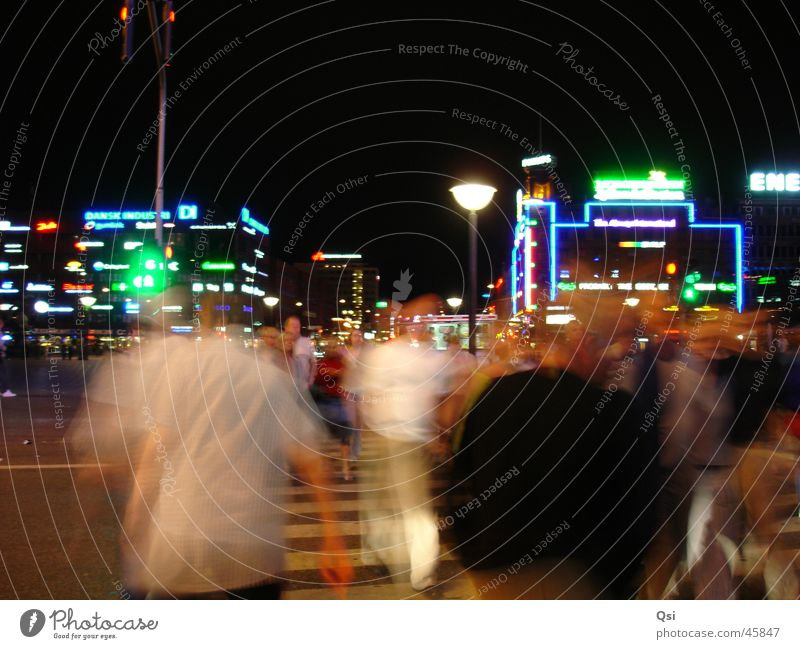 Copenhagen by night Night Long exposure Pedestrian Neon sign Europe Movement time exposure pedestrians illuminated advertising motion