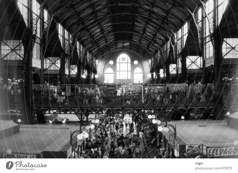 Budapest Covered market Crowd of people Europe Hungarian Warehouse
