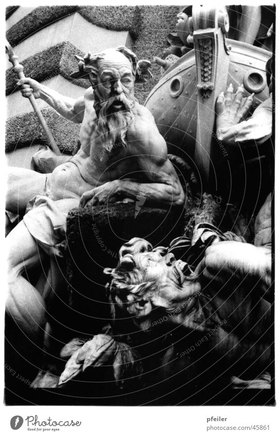 Poseidon Sculpture Well Vienna Watercraft Mythology God of the sea Historic Stone Hofburg Black & white photo