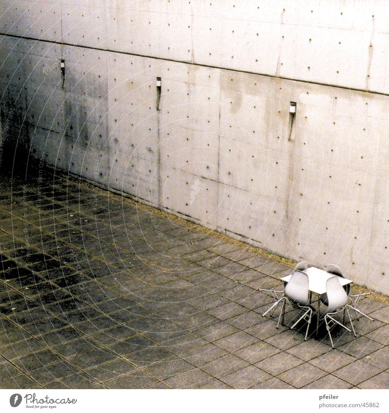Dirty Architecture Concrete Table Chair Weil am Rhein Patina Interior courtyard Vitra Design Museum