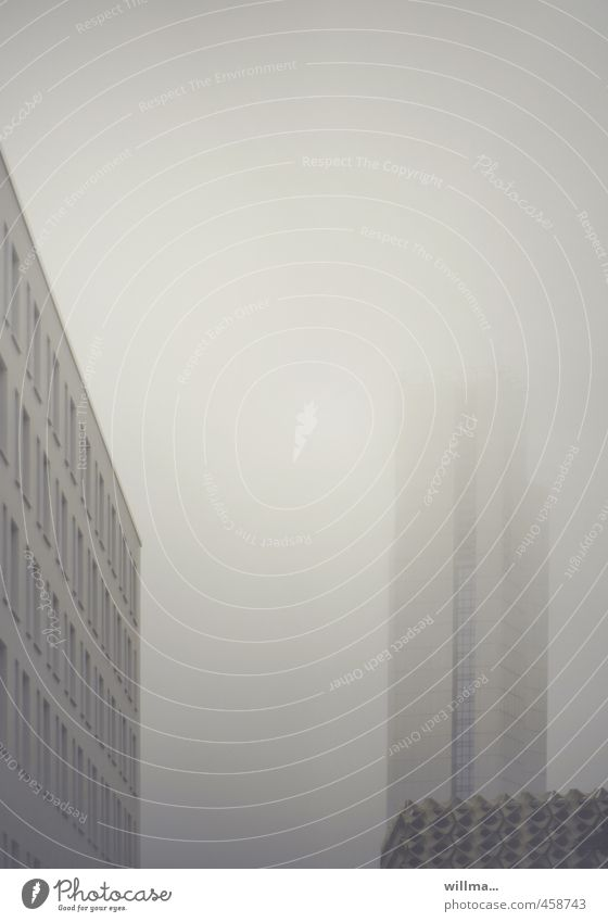 City House (Residential Structure) Window Architecture Gray Fog Gloomy High-rise Chemnitz