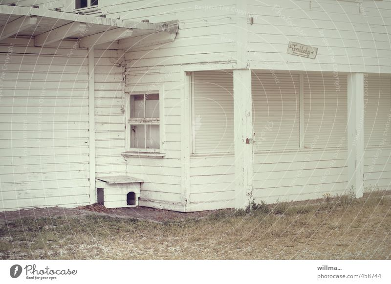 White House (Residential Structure) Window Closed Empty Gastronomy Decline Toilet Wooden wall Vacancy Wooden house Wooden hut Shed