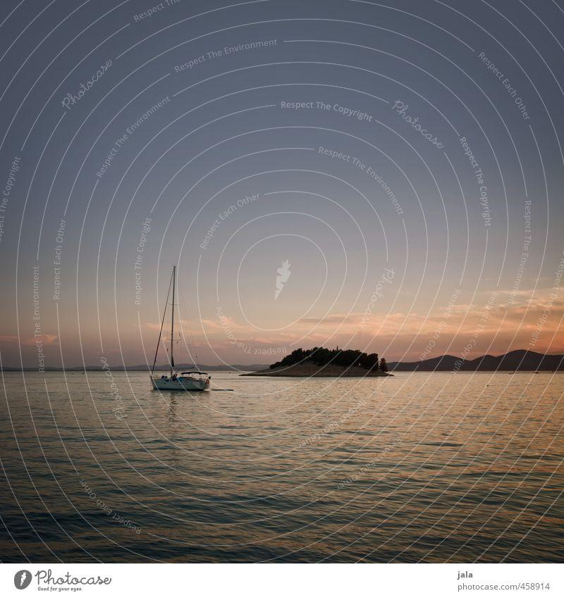 sundown Ocean Island Landscape Sky Sunrise Sunset Summer Croatia Sailboat Esthetic Warmth Contentment Joie de vivre (Vitality) Colour photo Exterior shot