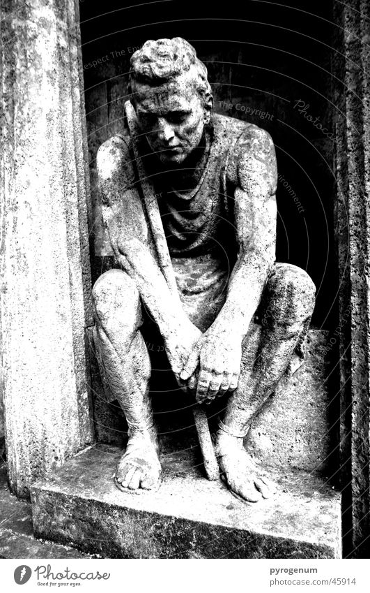 The Stone Guardian Statue Grave Cemetery Black White Grief Mystic Mysterious Exterior shot Wide angle Room Contrast Column depressed
