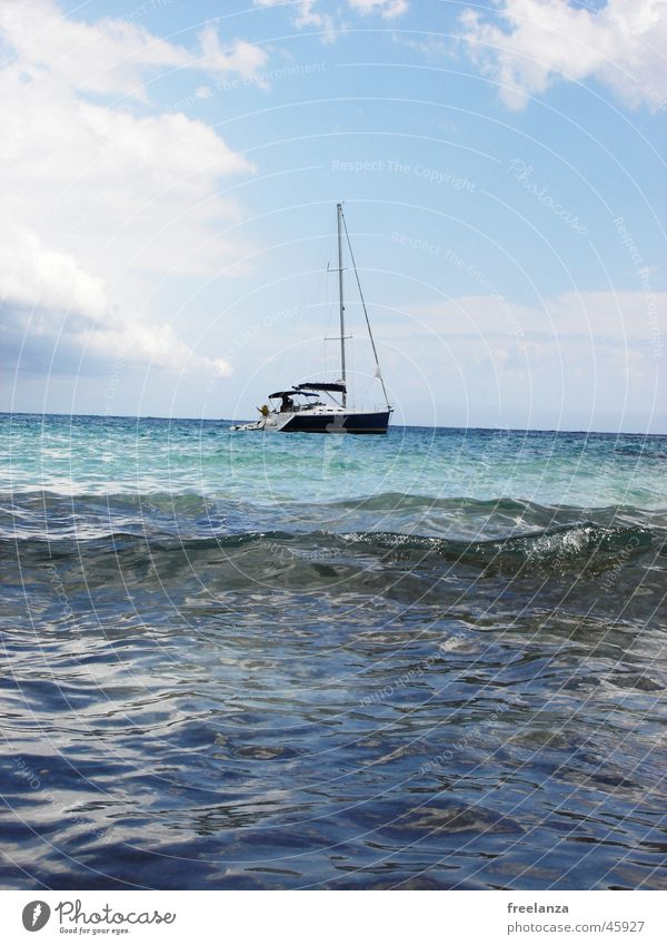 sailing vessel Ocean Clouds Watercraft Vacation & Travel Sun Blue Sky Cuba Sail