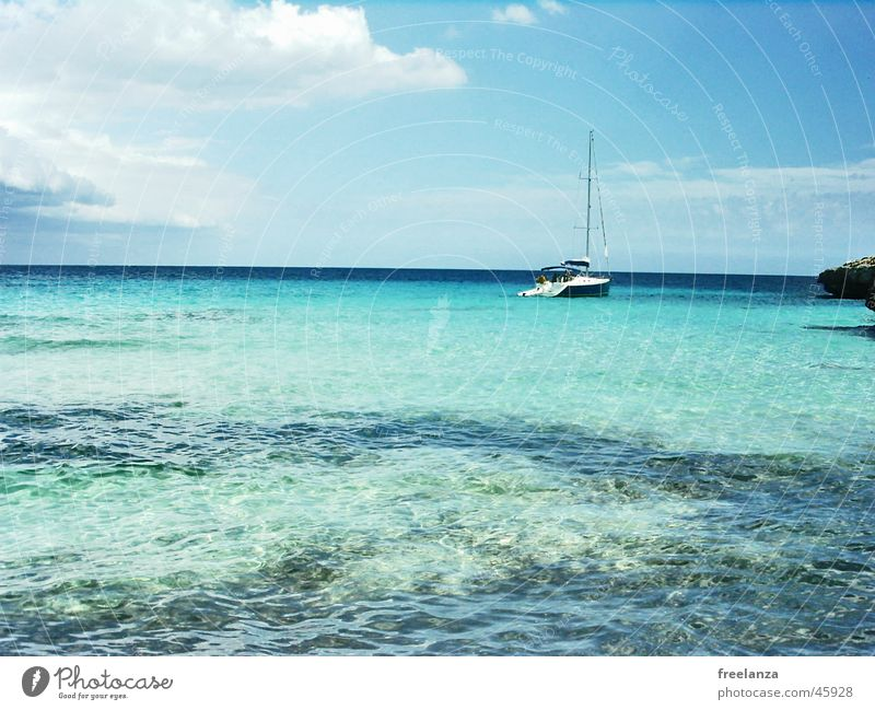 Water Sky Sun Ocean Blue Summer Beach Vacation & Travel Clouds Watercraft Rock